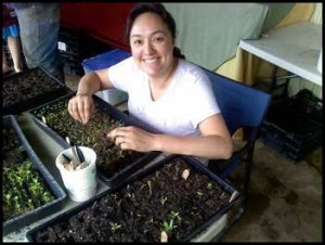 The author transplanting seedlings into bigger soil blocks
